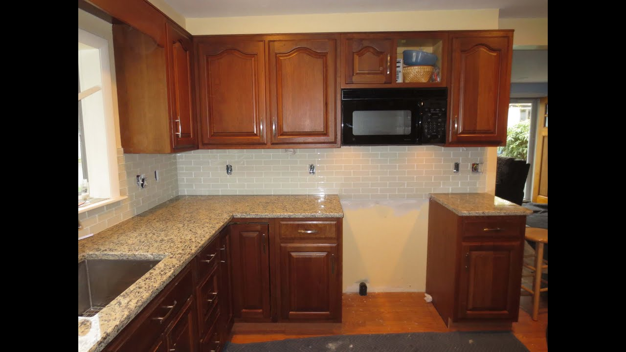 how to install a glass tile kitchen backsplash part 2