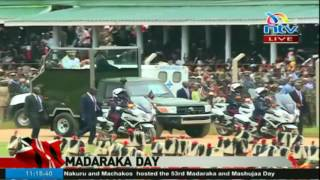 President Uhuru arrives in Nyeri for the Madaraka day celebrations