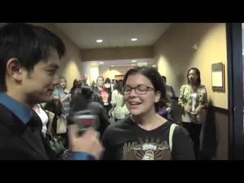 Osric Chau interviews fans at the Supernatural Convention in Burbank..