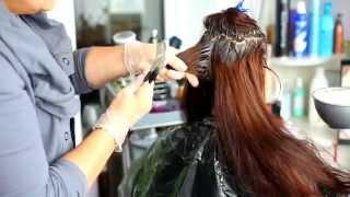 Окрашивание длинных волос краской  КЕРАТИНКОЛОР BBCOS