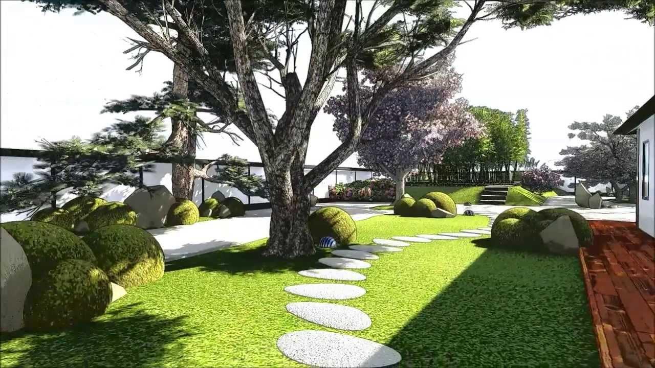 Modern Japanese Garden - YouTube