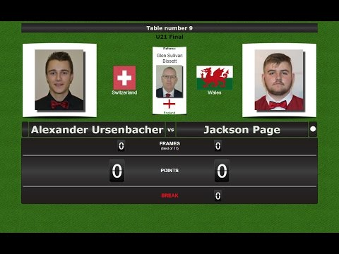 Snooker U21 Final : Alexander Ursenbacher vs Jackson Page