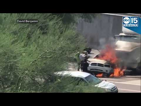 FULL RAW: HEROIC MAN RESCUES TRAPPED PASSENGER IN DEADLY FLAMING CAR ON I10
