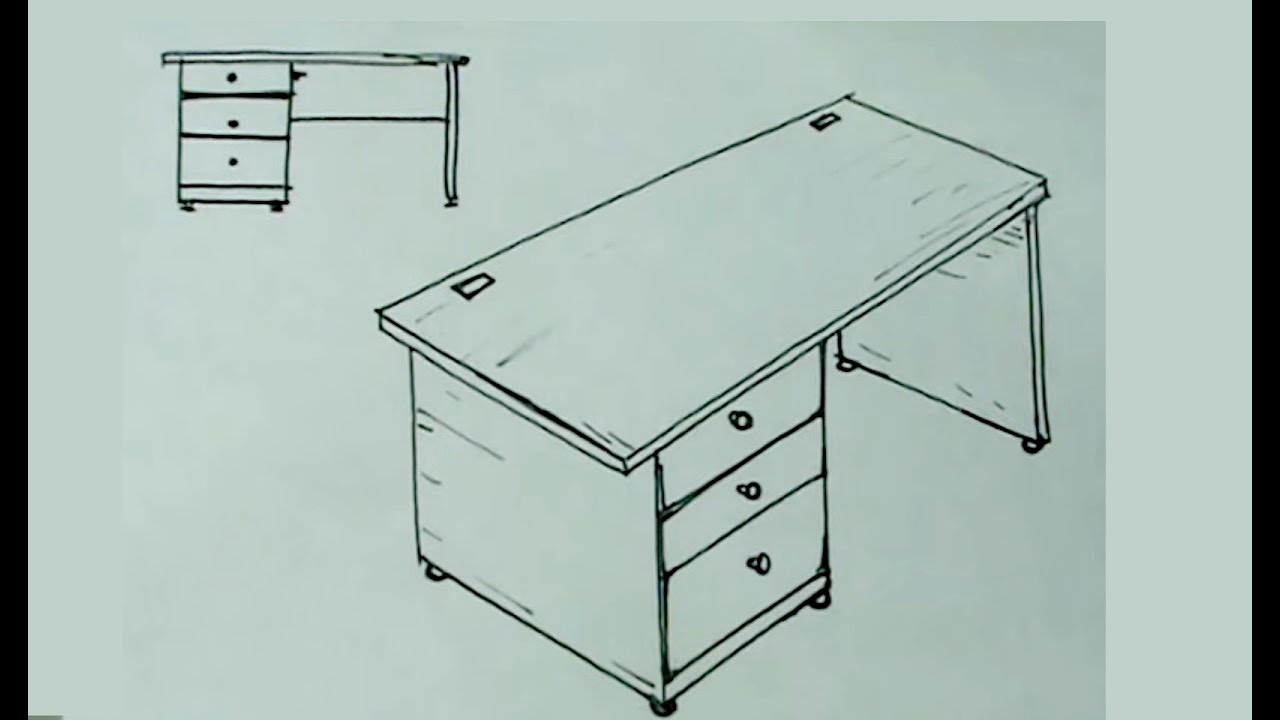 Cómo dibujar fácil un escritorio de oficina o mesa - desk drawing - YouTube