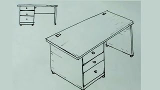 Cómo dibujar fácil un escritorio de oficina o mesa - desk drawing