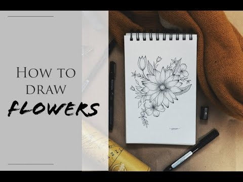 How to draw FLOWERS | Kí hoạ Hoa Lá | DOODLE with ME |