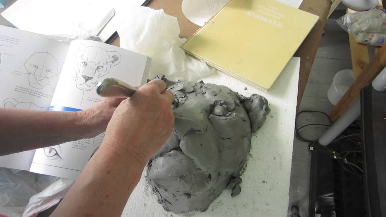 Concrete Lion Head Making The Clay Model Youtube