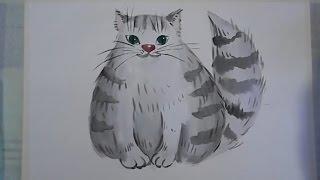 Как нарисовать кота(Узнайте, как новичку научиться рисовать карандашом и красками: http://lessons-free.ru/paintdvd Новый урок по рисованию..., 2015-12-28T16:00:00.000Z)