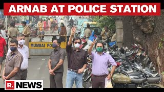 Arnab Goswami Reaches Police Station In Support Of Republic's Summoned Editorial Team