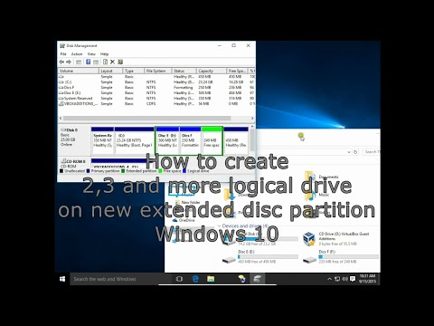 How to create 2, 3 and more logical disc drives on new extended disc partition Windows 10