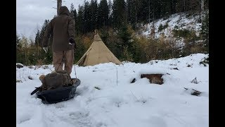 Solo Winter Hot Tent Camping - Nomad Wood Stove - Steak, Baked Potato - Bushcraft Camp