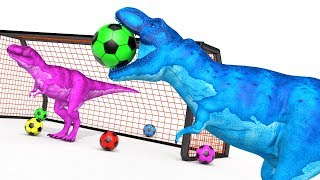 Color Learning With Football Balls Dinosaurs - T Rex Dinosaur Playing Soccer | Animals Playing Ball