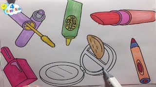 How to Draw Cosmetics and Accessories for Girls | Learning Coloring Pages for Kids