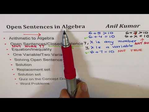 Open Sentences in Algebra with One and Two Variables