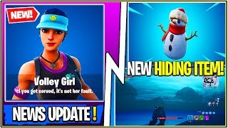 *NEW* Fortnite Update! Encrypted Volley Girl Skin, Sneaky Snow Man Item, & Water Rising around Map!