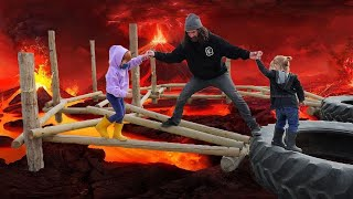 PUMPKiN CASTLE Slide  &  Hot Lava obstacle course!! Family Halloween tradition & floor is lava game!