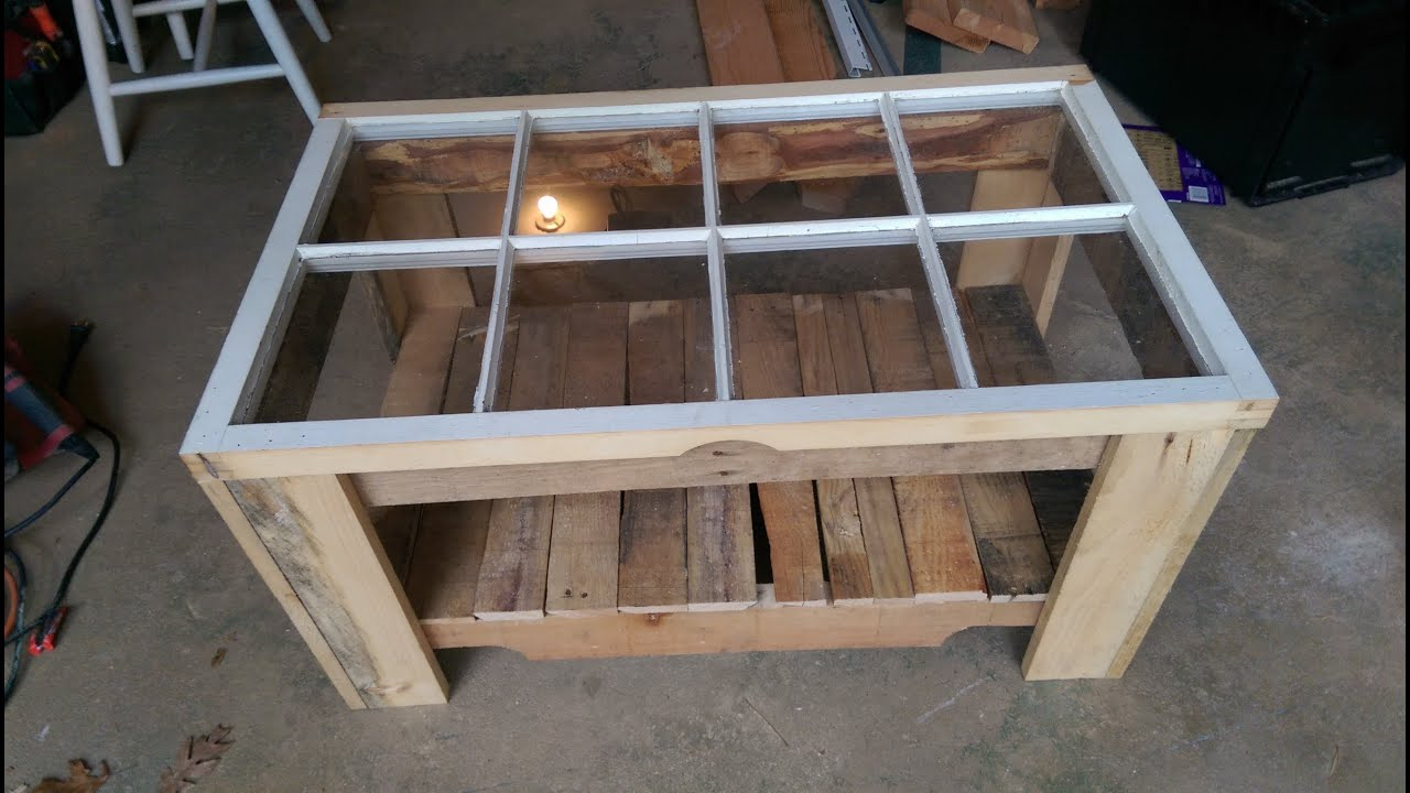 Wood Pallet + old window = Coffee table - YouTube
