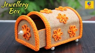 DIY Jewellery Box made from Jute Rope and Cardboard | Jewellery Box | Jute Craft Decoration Design