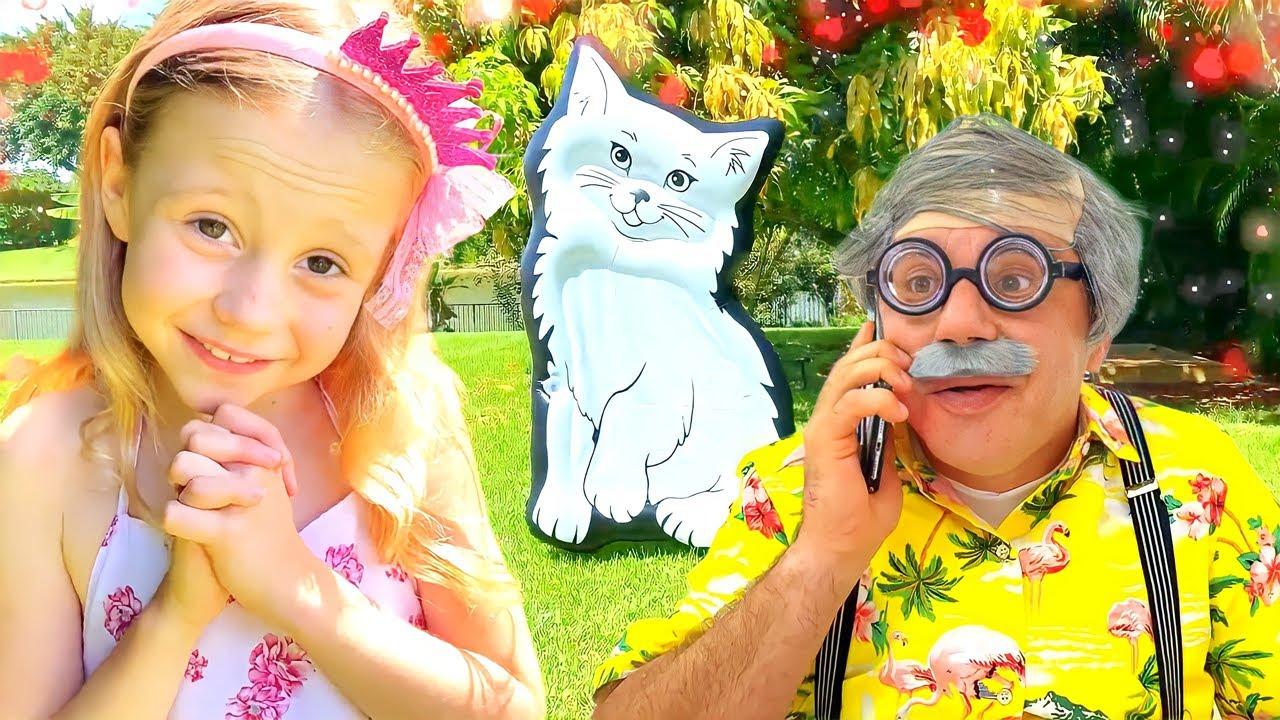 Nastya chơi với ông nội trên tấm bạt lò xo khổng lồ