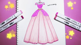 How to draw a Wedding dress 20 - Vẽ Váy Cưới - An Pi TV Coloring