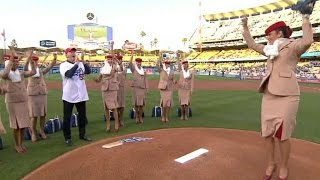 CIN@LAD: Flight attendant fires first-pitch strike(One of several flight attendants convinces Orel Hershiser to let her throw the ceremonial first pitch and she fires a strike to Dave Roberts Check out ..., 2016-05-24T04:54:35.000Z)