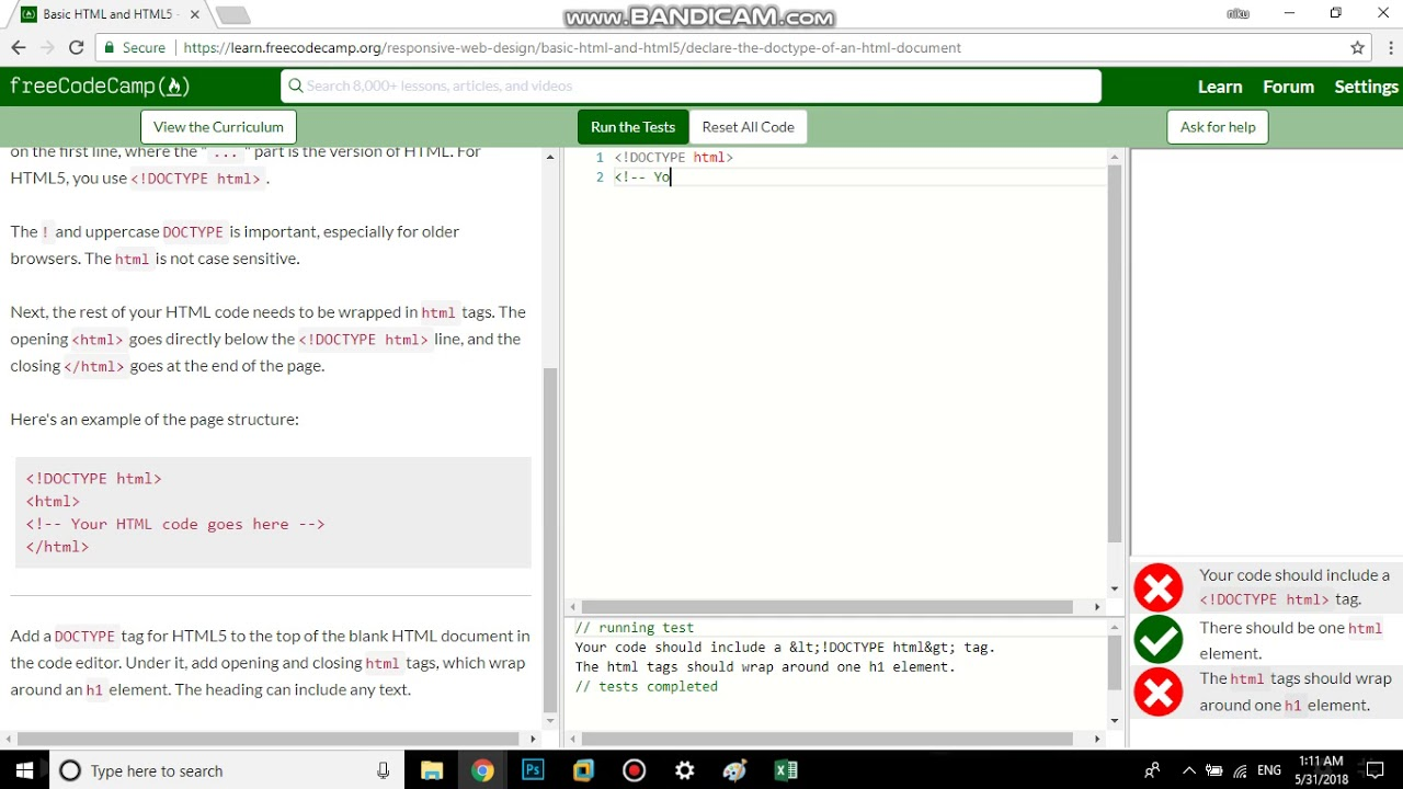 basic html and html5 declare the doctype of an html document free
