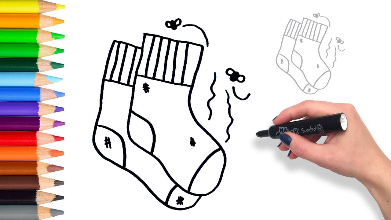 learn how to draw stinky smelly socks  teach drawing for