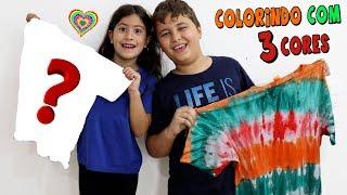 COLORINDO A CAMISETA COM 3 CORES - 3 COLOR TIE DYE CHALLENGE!