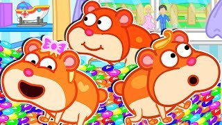 Lion Family 🎳 Rainbow Skittles for Hamsters | Cartoon for Kids