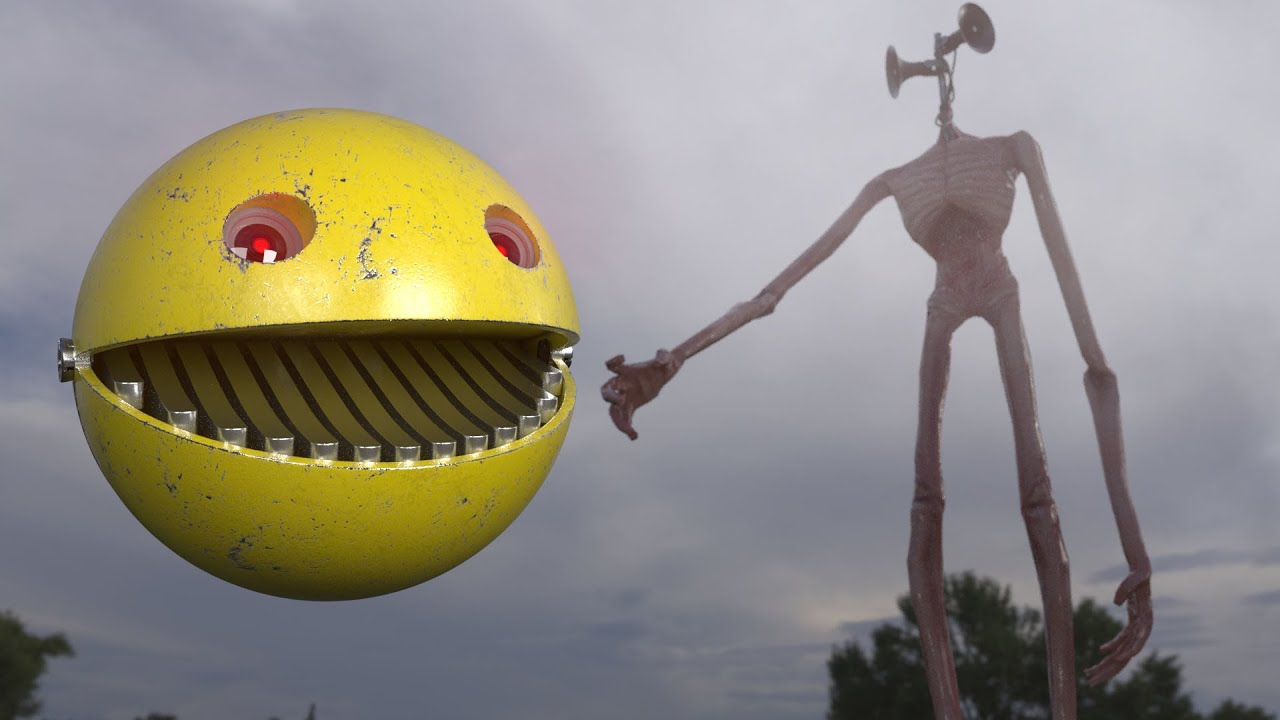 Pacman Faced with Siren Head when Escaping from Crazy Maze