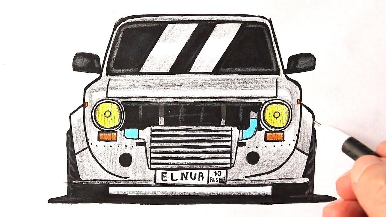 Как нарисовать машину ВАЗ-2101   Учимся рисовать жигули ...