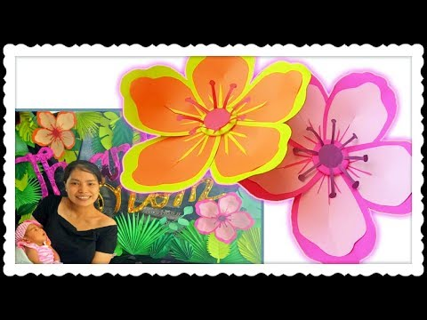DIY Easy Paper Flower Hibiscus for Cheap and Easy Tropical Photo Booth Backdrop