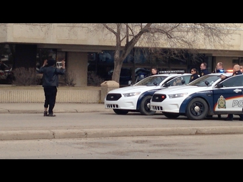 Police takedown in Saskatoon, Sk. April 3, 2015.