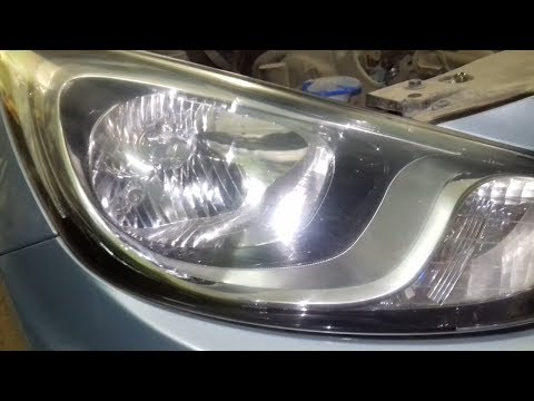 Замена лампочки ближнего/дальнего света фар на Хендай Солярис (Hyundai Solaris)