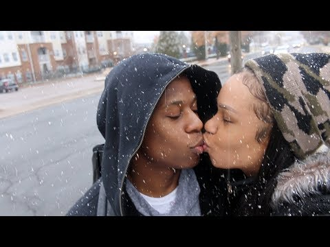 WE KISSED IN THE MIDDLE OF THE STREET UNDER THE SNOW! ❄️