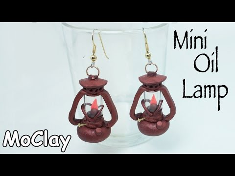 How to make Oil Lamps miniature - Dollhouse accessories - Earrings