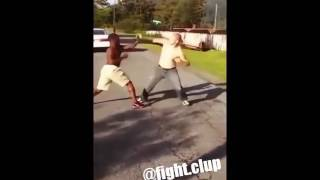 Black boy fights white boy (knock out)