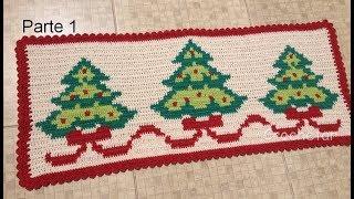 Toalha / Tapete Árvores de Natal (Fio Conduzido) crochê Parte 1- Professora Maria Rita