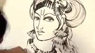 Drawing of Krishna live