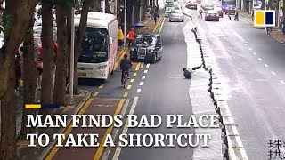 man finds bad place to take a shortcut in china
