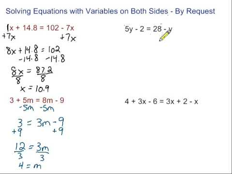 Worksheet Solving Equations With Variables On Both Sides Worksheet equation with variables on both sides worksheet pichaglobal equations by request youtube