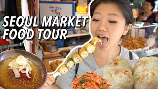 korean street food largest traditional market food tour in seoul south korea namdaemun market