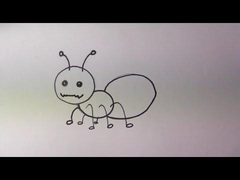วาดรูปการ์ตูนน่ารัก ระบายสี และเรียนรู้ภาษาอังกฤษ Ant มด