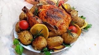 Праздничная ароматная сочная курица с картошкой в духовке Pui cu cartofi la cuptor Gustoşenie