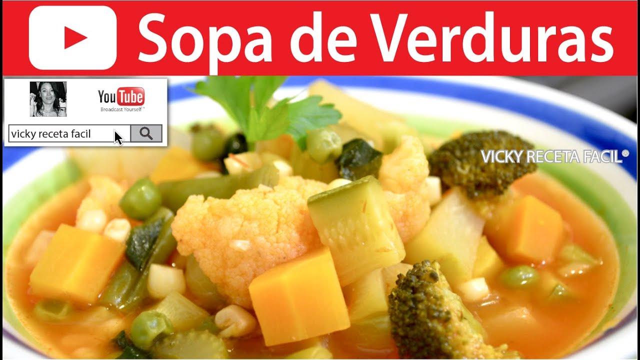 Sopa de verduras vicky receta facil youtube - Como hacer verduras salteadas ...