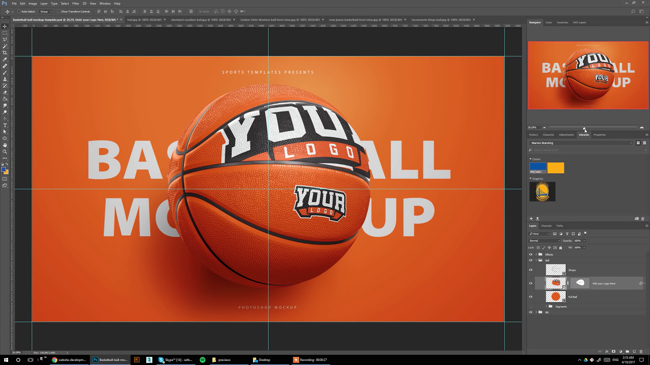 Design Your Own Basketball In Photoshop Sports Mockup Template