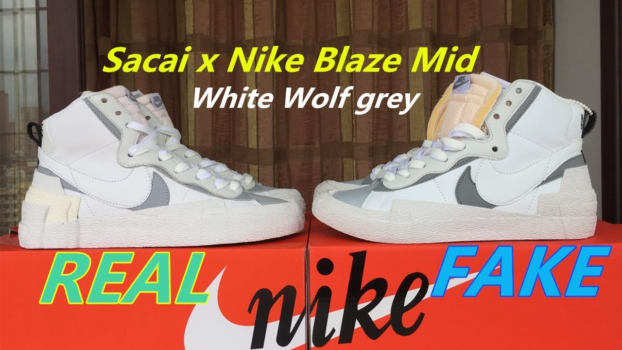 Ejecutable Meyella Chip  Real vs Fake: Sacai X Nike Blazer Mid White Wolf Grey - YouTube