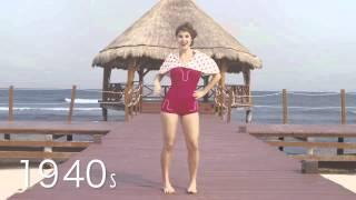 Как менялась мода на купальники за 125 лет(Как менялась мода на купальники: 1890-2015! 125 лет пляжной моды за 1,5 минуты!, 2015-07-19T20:13:47.000Z)