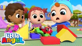 Racing Cars on The Playground | London Bridge Song | Little Angel Kids Songs