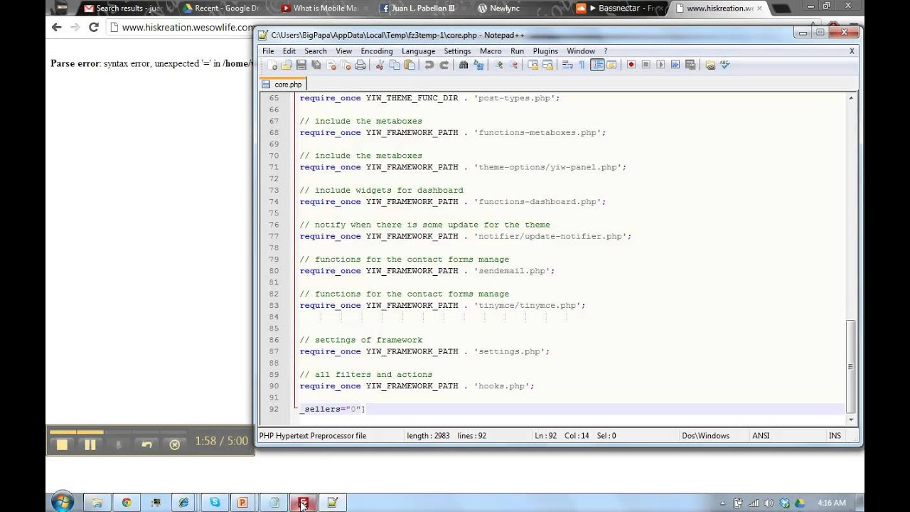 Fix Parse error, php syntax error, for WordPress site